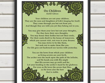 "On Children by Kahlil Gibran - 8x10"" Printable Poster - Wall Art (Green) - Party Favor - Instant Download"