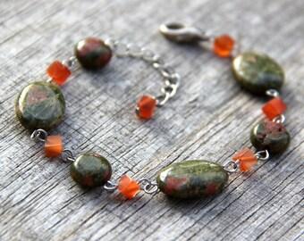 Gemstone unalite link bracelet Bridesmaid gifts Free US Shipping handmade Anni designs