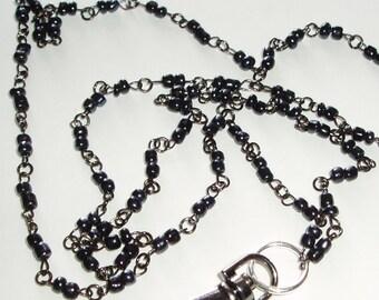 Simple Black Beaded ID Lanyard  - Black Bead ID Badge Lanyard - Great Teacher or Coworker Gift