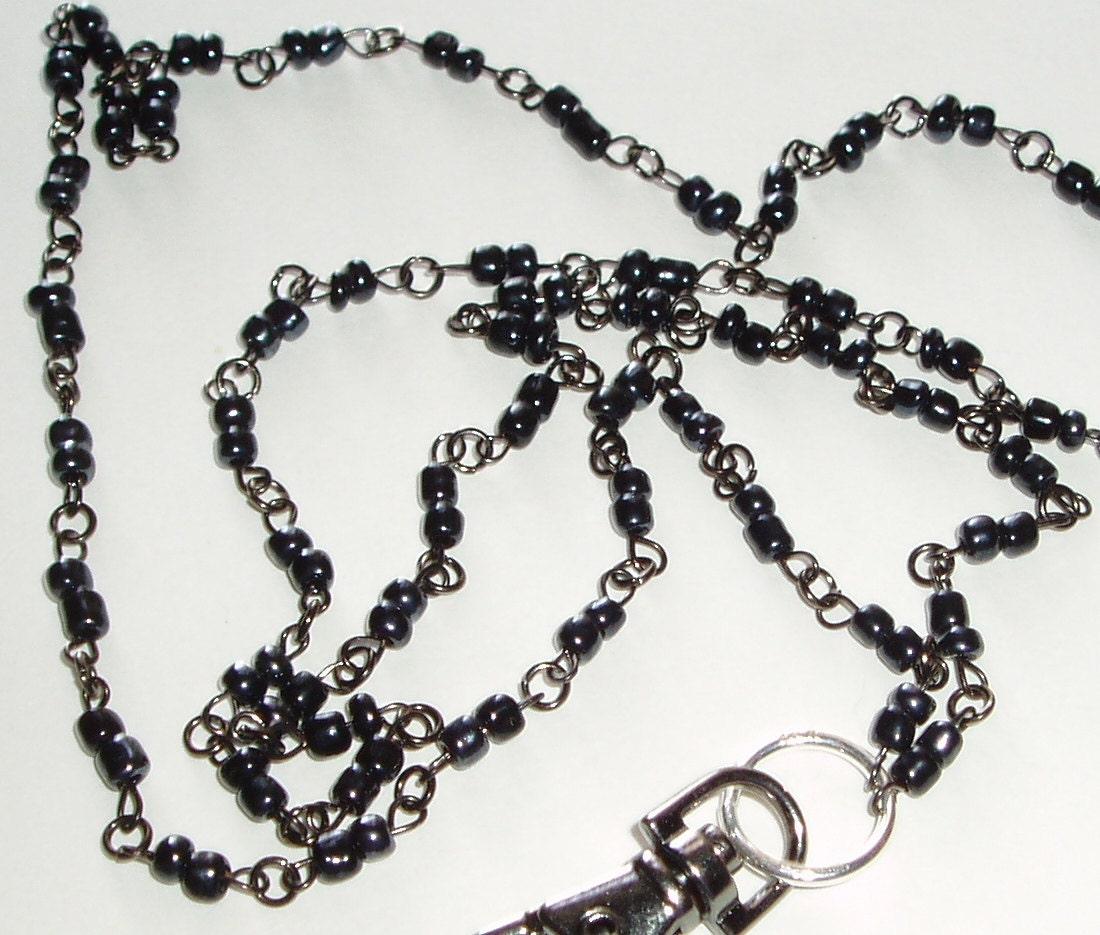 Id Card Beads: Simple Black Beaded ID Lanyard Black Bead ID Badge Lanyard