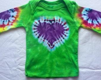 Newborn Purple Heart Tie Dye Long Sleeve Lap Tee Shirt