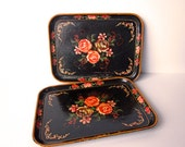 Two Vintage Small Rose Covered Trays