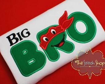 Big Bro Ninja Turtle Themed Applique Shirt