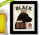 Black Lab Labrador Retriever Art Beer Art Framed Dog Art Print Personalized Black Dog Bar Art