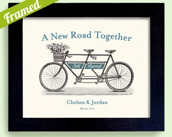 Just Married Engagement Gift for Couples Personalized Wedding Gift Bicycle for Two Framed Print for Bride and Groom Wedding Keepsake