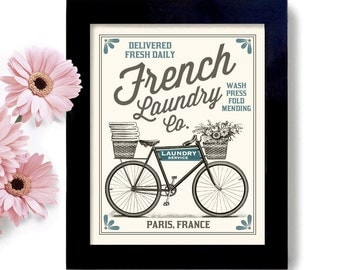 French Laundry Room French Decor Laundry Sign Bicycle Print Paris France Washing Machine Bathroom Art Powder Room Clothespin Mudroom