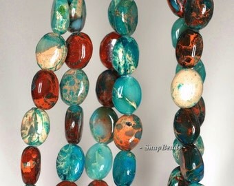 10x8mm Imperial Jasper Gemstone Blue Green Brown Oval 10x8mm Loose Bead 7.5 inch Half Strand (90143476-179)
