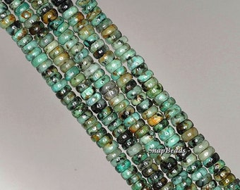 4x2mm African Turquoise Gemstone Rondelle Donut 4x2mm Loose Beads 7.5 inch Half Strand (90188879-77)