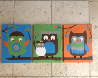 Owl paintings for nursery to match Skip Hop Treetop Friends bedding