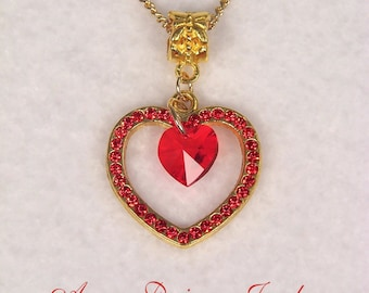 Bright red double crystal heart necklace, gold