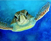 "FREE SHIPPING - Sea Turtle Painting - 8x10"" Ltd Edition Print - SAXONLYNN"