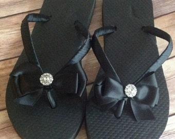Satin Bow Rhinestone Center Flip Flops - Black