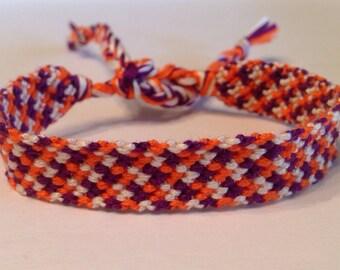 Purple, Cream & Salmon - Friendship Bracelet