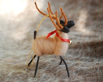 Reindeer Christmas Ornament, Needle Felted, Wire Wrapped, Wool Reindeer, Handmade Ornament