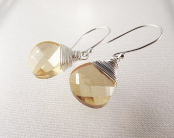 Golden Briolette Earrings on Argentium Sterling Silver French Wires