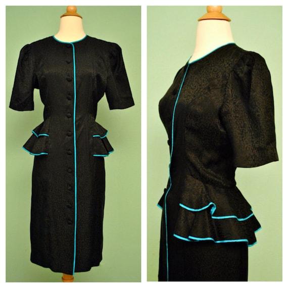 1980s Black Peplum Pinup Dress - 40s 50s Style Rockabilly Shirt Waist Dress with Ruffles Knee Length