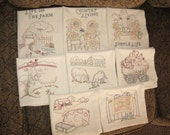 FREE SHIPPING Handmade Embroidered Tea Towels Life on the Farm Set of 8