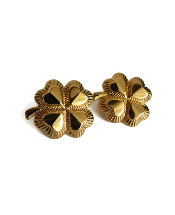items similar to vintage lucky clover avon earrings gold
