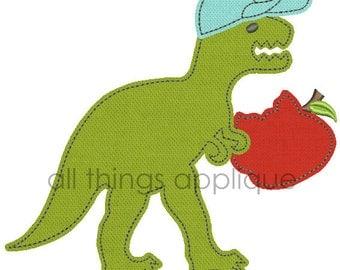 T-Rex Eating Apple Applique Design - 4 Sizes - Back to School Applique - INSTANT DOWNLOAD