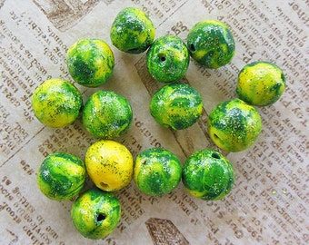 Green Apple Polymer Clay Beads, Beading Supplies, Round Custom Made Beads for Jewelry Ideas, Bright, Beautiful Beads in Lemon Lime Shades.
