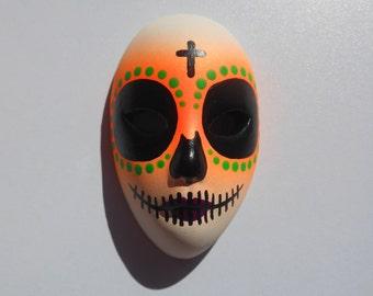 Halloween / Day of the Dead Dia de los Muertos Calavera medium Sugar Skull Hand-painted porcelain mask Neon Orange, Green and Purple