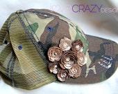 Women's trucker baseball hat bling hat with leather flowers