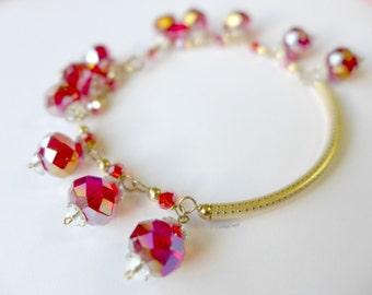 Red Swarowski Crystal Bracelet with Bar
