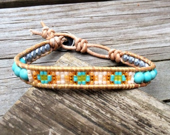 Native American inspired Turquoise beaded leather bracelet with silver clasp