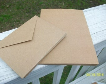 "5 x7 Blank Cards, 12 Blank Kraft Notecards and Matching Kraft Envelopes, 5"" x 7"""