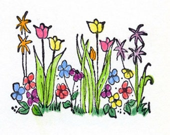 Rubber Stamp Field of Flowers