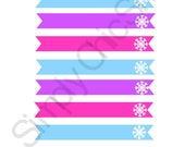 INSTANT DOWNLOAD, Bright Frozen Party Printables- Paper Straw Flags, Printables,Die Cuts, tags, Invitations, Cards, Digital Frames