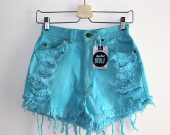 Denim Cutoff Shorts - Light Blue, Torn Down Back Pocket, Studded Slashed and Frayed Denim Blue Shorts