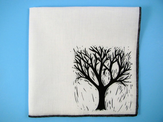 Hankie- TREE shown on super soft white cotton hanky-or choose from any solid color or plaids shown in pics