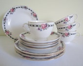 ANTIQUE 1920s TUSCAN fine bone china trio - set of 4, cup saucer plate