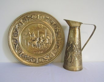 VINTAGE ELPEC brass pitcher, jug and plate - pair, set, Old English coach, inn scene