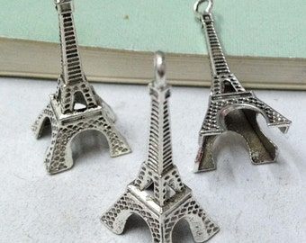 Eiffel Tower Charms -15pcs Antique Silver Large Eiffel Tower Charm Pendant 17x39mm AA103-6