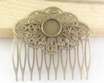 Bronze Hair Combs -10pcs 12mm Base Antiqued Bronze Metal Hair Comb 9 Prongs 51x56mm