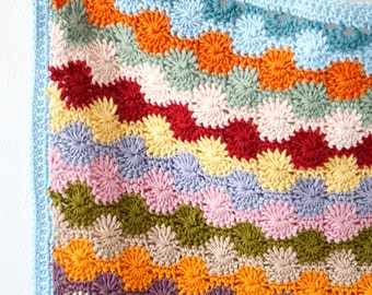 Blanket Pattern, Crochet Tutorial, Baby Gift, Bright, Car seat Throw,