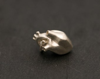 Silver Heart Pendant - Anatomical Heart Pendant - Sterling Silver - Free Shipping