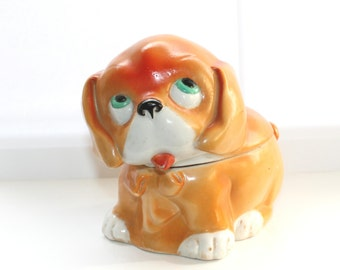Vintage porcelain puppy dog trinket box