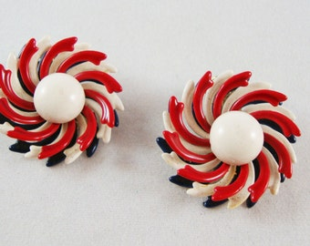 Vintage Red, White & Blue Clip On Earrings