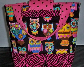 Girls Scripture Bag or Tote  Cute little Owls Bright Pink and Black