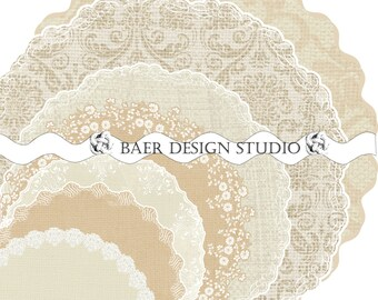 Champagne Burlap and LACE Digital DOILIES:Printable Charger, Ivory Damask Printable Doily, Commercial Use Clip Art, Round Printable Placemat