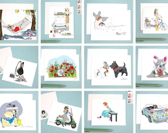 Create Your Own Set of Eight Greeting Cards, mix and match greeting card set, pick any greeting cards