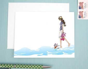 Greeting Card, note card, with a girl and her french bulldog walking along the beach