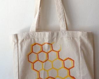 Screenprint Honeycomb Canvas Tote Bag - Yellow and Orange Honeycomb Hexagon Hand Screenprinted on Canvas