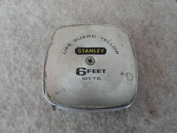 593)  Vintage Stanley MYT6 Tape Measure Life Guard Yellow