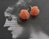 Apricot Peach Colored Petite Rose Stud Earrings for Her 1cm Across Silver Posts