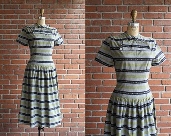 Vintage 1950s By Day and Night Dress / 40s 50s drop waist cotton day dress / Small S