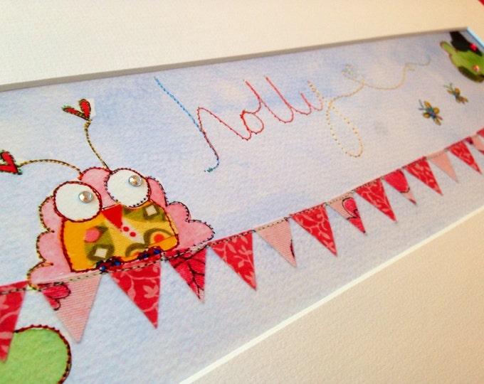 Baby Girl - Bird on Bunting - Name Art - Nursery Art - Girl - Pink - Personalised